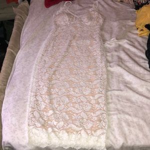 Lace nude strap dress